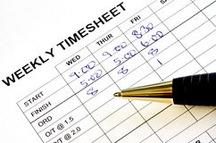 Weekly Timesheet Royalty Free Stock Images