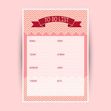 Weekly to do list Royalty Free Stock Photography