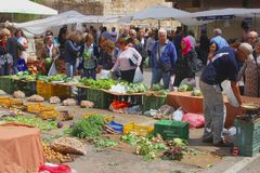 People buy vegetables at the market in Majorca, Spain Stock Images