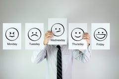 Weekly work emotion Royalty Free Stock Photo