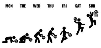Weekly working life evolution basketball. Abstract working life cycle evolution from Monday to Sunday concept in black stick figure playing basketball from Royalty Free Stock Photo
