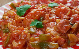 Weeknight Jambalaya. Creole dish with rice, vegetables and sausage royalty free stock image