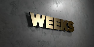 Weeks - Gold sign mounted on glossy marble wall  - 3D rendered royalty free stock illustration Stock Photo