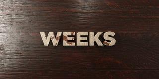 Weeks - grungy wooden headline on Maple  - 3D rendered royalty free stock image Royalty Free Stock Images