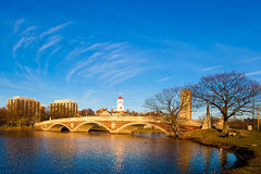 Weeks Memorial Footbridge. View of the Weeks Memorial Footbridge in Cambridge, city of Boston in Massachusetts, USA on a sunny spring day Stock Images