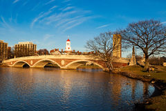 Weeks Memorial Footbridge. View of the Weeks Memorial Footbridge over the Charles River connecting Cambridge to Boston in Massachusetts, USA Stock Photos