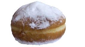 Weelderige doughnut met gepoederde die suiker op witte achtergrond wordt ge?soleerd royalty-vrije stock fotografie