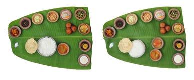 Weelderige, gezonde Indische onammaaltijd (sadhya) Stock Foto's