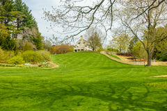 Weelderige groene tuin met huis op heuveltop stock foto's