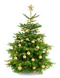 Weelderige Kerstmisboom met gouden ornamenten Royalty-vrije Stock Foto's