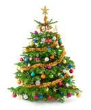 Weelderige Kerstmisboom met kleurrijke ornamenten Stock Fotografie