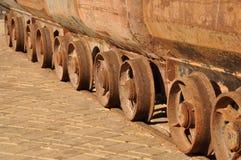Weels di vecchi carretti della miniera Fotografia Stock Libera da Diritti