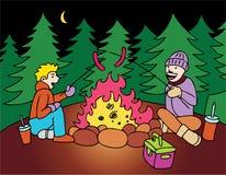 Weenie roast. Two campers have a weenie roast Stock Photos