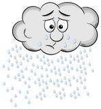 Weeping cartoon raincloud isolated on white Royalty Free Stock Image
