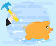Weeping piggy pig bank escapes from the hands of a businessman with a hammer. Risky investments. Losing money, savings Royalty Free Stock Photography