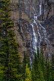 Weeping wall, Banff National Park, Alberta, Canada. Water flows down the cliffs of the weeping wall in banff Royalty Free Stock Image