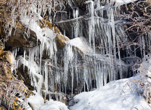 Weeping wall in Smoky Mountains covered in ice Stock Photos