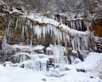 Weeping wall in Smoky Mountains covered in ice Royalty Free Stock Images