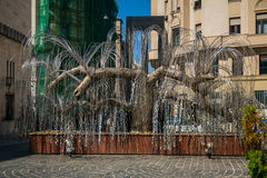 The Weeping Willow Holocaust monument. Budapest, Hungary - September 17, 2015: The Weeping Willow Holocaust Memorial monument which is located near Dohany royalty free stock photography