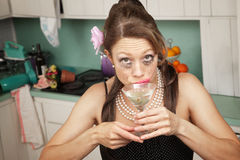 Weeping Woman Has A Drink Royalty Free Stock Images