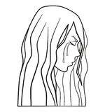 Weeping woman vector, domestic violence, domestic abuse, family violence royalty free illustration