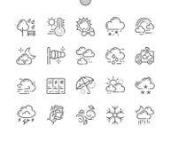 Weer goed-Bewerkte Pictogrammen 30 van de Pixel Perfecte Vector Dunne Lijn 2x Net voor Webgrafiek en Apps Stock Afbeelding