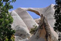 Weer-versleten Vulkanische Rotsvorming - Rode Rose Valley, Goreme, Cappadocia, Turkije Stock Foto's