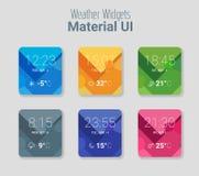Weer widgets UI en de materiële Uitrusting van UX Stock Fotografie
