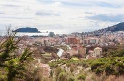 Weergeven aan Budva-stad in Montenegro stock afbeelding