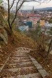 Weergeven aan het stadscentrum en St Michael& x27; s Kerk van de Cetatuia-Heuvel in cluj-Napoca, Roemenië royalty-vrije stock fotografie