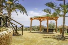 Weergeven aan klein dorp Finestrat dichtbij Alicante, Costa Blanca, Spanje stock afbeeldingen