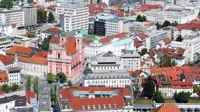 Weergeven boven Ljubljana stock videobeelden