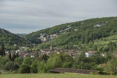 Weergeven naar oude stad in Ariege, Frankrijk, stock fotografie