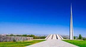 Weergeven op Armeense Volkerenmoord herdenkings complex in Yerevan, Armenië royalty-vrije stock fotografie