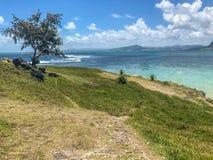 Weergeven op blauwe baailagune Mauritius royalty-vrije stock fotografie