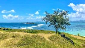 Weergeven op blauwe baailagune Mauritius stock foto