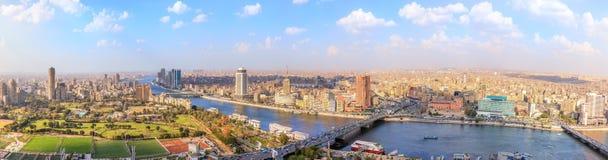 Weergeven op de Nijl in Kaïro, panorama van hierboven, Egypte royalty-vrije stock afbeeldingen