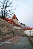 Weergeven op de oude stadsmuur stock foto