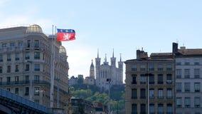 Weergeven op de stad van Lyon, in Frankrijk stock video