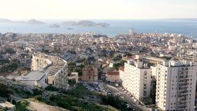Weergeven op de stad van Marseille, Frankrijk stock footage