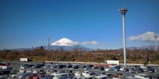 Weergeven op het onderstel Fuji stock afbeeldingen