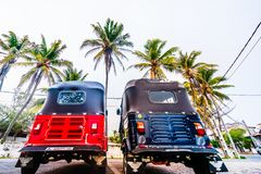 Weergeven op twee taxis van Tuk Tuk in Galle, Sri Lanka royalty-vrije stock foto