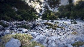 Weergeven over bergaf tijdens het beklimmen van ervaring tot de bovenkant van Sveti Jure in de Biokovo-Bergen in Kroatië royalty-vrije stock afbeeldingen