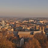 Weergeven over Bristol, uit Cabot Tower wordt genomen dat stock afbeeldingen