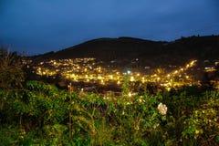 Weergeven over Dunedin-stad vanuit een gezichtspunt bij nacht, Dunedin, Otago, Zuideneiland, Nieuw Zeeland royalty-vrije stock fotografie