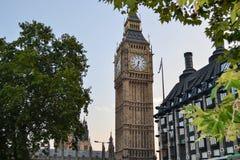 Weergeven van Big Ben van achter de bomen Het Verenigd Koninkrijk Londen stock afbeelding