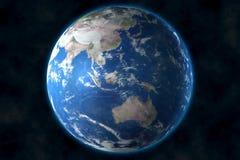 Weergeven van blauwe aarde in ruimte het 3D teruggeven, elementen van dit die beeld door NASA wordt geleverd royalty-vrije illustratie
