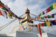 Weergeven van Boudhanath Stupa in Katmandu in Nepal stock foto