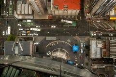 Weergeven van boven het kijken neer op straten en daken royalty-vrije stock foto's