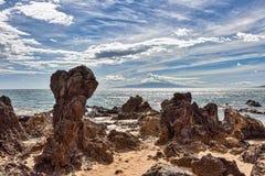 Weergeven van Charlie Young Beach, Kihei, Maui, Hawaï stock afbeelding